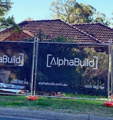 Construction site fence banners for Alphabuild